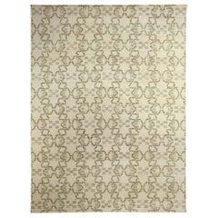 Doris Leslie Blau Collection Modern Paleo White, Green & Gray Handmade Hemp Rug