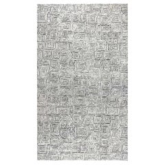 Doris Leslie Blau Collection Modern Quagmire Black and White Geometric Wool Rug