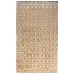 Doris Leslie Blau Collection Modern Steppe Art Deco Style Wool Rug in Gold Beige