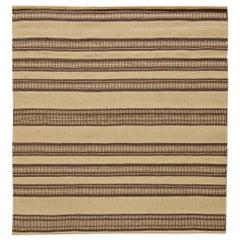 Doris Leslie Blau Collection Modern Striped Beige, Brown Handmade Wool Rug