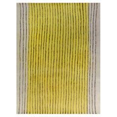 Doris Leslie Blau Collection Modern Striped Yellow Black Hand Knotted Felt Rug