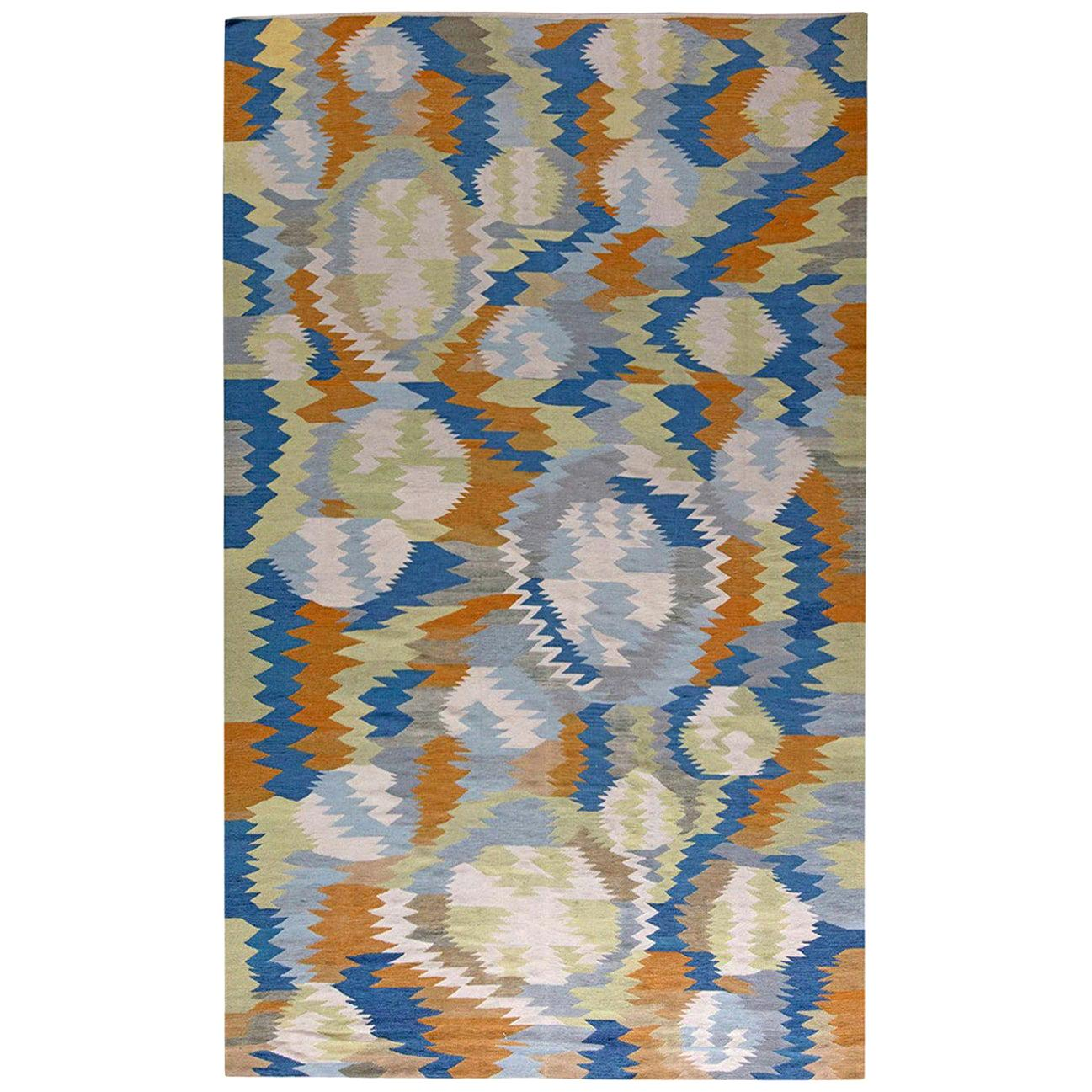 Doris Leslie Blau Collection Modern Swedish Inspired Blue, White and Orange Rug