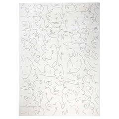 Doris Leslie Blau Collection Modernist Jean Cocteau Style Black & White Silk Rug