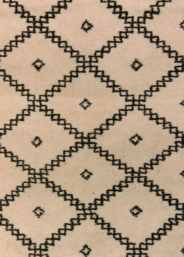 Doris Leslie Blau collection Moroccan beige and black handmade wool rug Size: 2'6