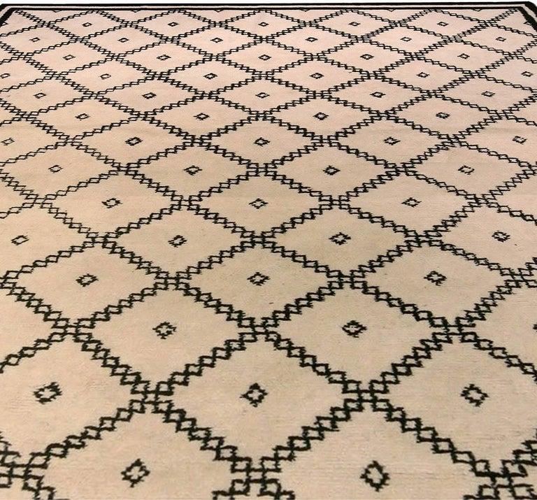 Modern Doris Leslie Blau Collection Moroccan Beige and Black Handmade Wool Rug For Sale