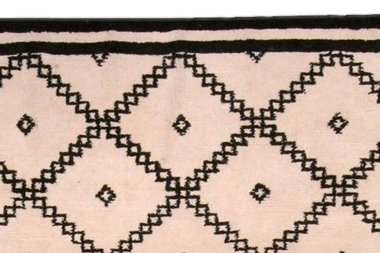 Hand-Knotted Doris Leslie Blau Collection Moroccan Beige and Black Handmade Wool Rug For Sale