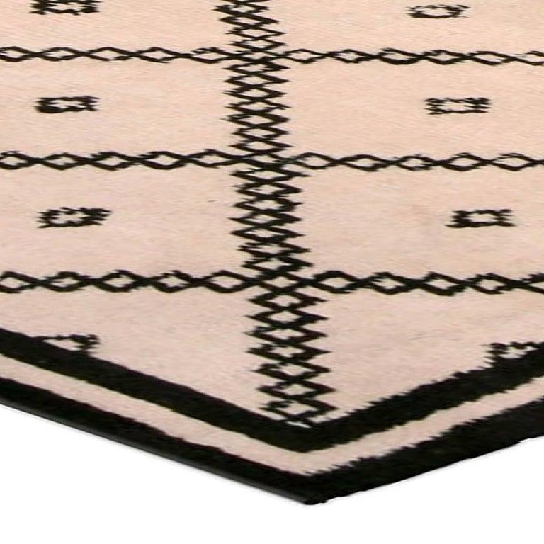 Doris Leslie Blau Collection Moroccan Beige and Black Handmade Wool Rug For Sale 1