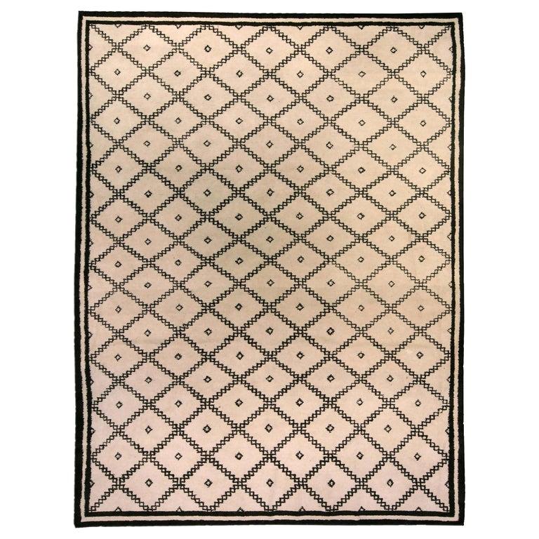 Doris Leslie Blau Collection Moroccan Beige and Black Handmade Wool Rug For Sale