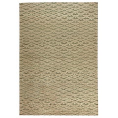 Doris Leslie Blau Collection Moroccan Geometric Beige & Brown Handmade Wool Rug
