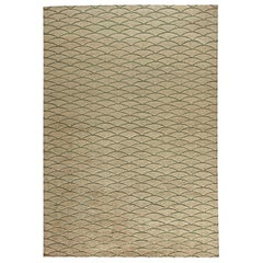 Doris Leslie Blau Collection Moroccan Geometric Beige & Brown Handmade Wool Rug