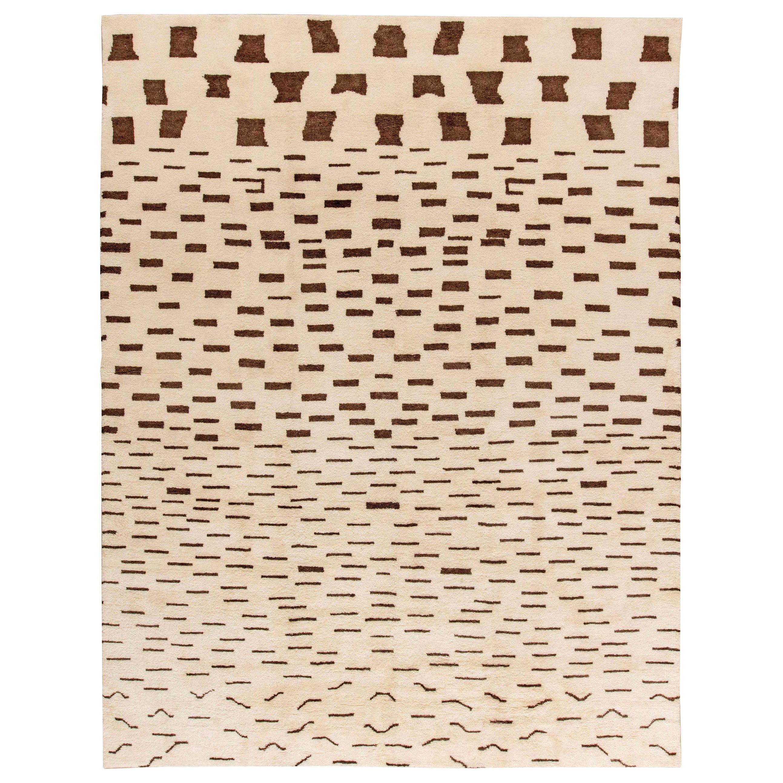 Doris Leslie Blau Collection Moroccan Handmade Wool Rug in Brown and Beige
