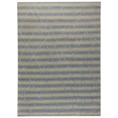 Doris Leslie Blau Collection Moroccan Style Blue and Beige Handmade Wool Carpet