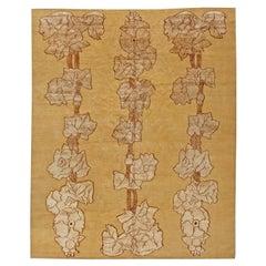 Doris Leslie Blau Collection Napa Vines Beige and Brown Handmade Wool Rug