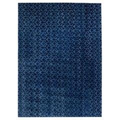 Doris Leslie Blau Collection Navy Blue Handcrafted Pashmina Euro Rug