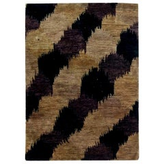 Doris Leslie Blau Collection Nepalese Light Brown, Dark Taupe and Black Hemp Rug