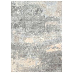 Doris Leslie Blau Collection North Star Blue and Gray Hand Knotted Silk Rug