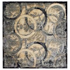 Doris Leslie Blau Collection Oblique Abstract Circles Design Wool Rug