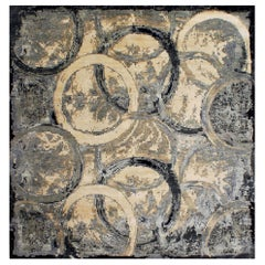 Doris Leslie Blau Collection Oblique Abstract Rug in Black, Beige & Gray Circles