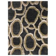 Doris Leslie Blau Collection Ondulation Abstract Black, Beige, Wool & Silk Rug