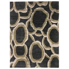 Doris Leslie Blau Collection Ondulation Wool and Silk Rug in Gray, Beige & Black