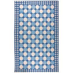 Doris Leslie Blau Collection Oversize Indian Dhurrie Blue White Beige Cotton Rug
