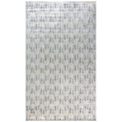 Doris Leslie Blau Collection Oversized Modern Silk Rug in Beige, Blue & Gray