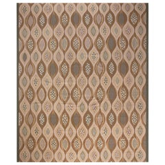 Doris Leslie Blau Collection Oversized Swedish Design Beige and Brown Wool Rug