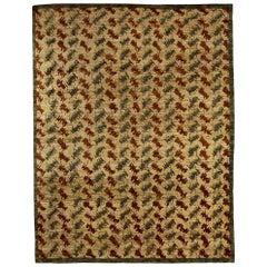 Doris Leslie Blau Collection Palette Handmade Wool Rug in Beige, Brown and Blue