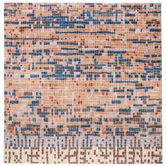 Doris Leslie Blau Collection Pool Tile Rug in Orange, Ivory, Brown and Blue