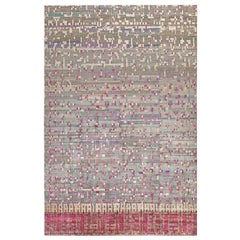 Doris Leslie Blau Collection Pool Tile Rug in Pink, Grey, and Ivory