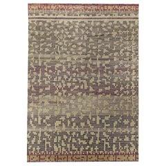 Doris Leslie Blau Collection Pool Tile Rug in Shades of Beige, Gray and Violet