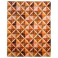Doris Leslie Blau Collection Ruddy Brown Aubusson Design High and Low Pile Rug