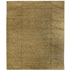 Doris Leslie Blau Collection Sacco Gold and Brown Hand Knotted Wool Rug
