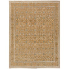 Doris Leslie Blau Collection Samarkand Brown and Light Blue Handmade Wool Rug
