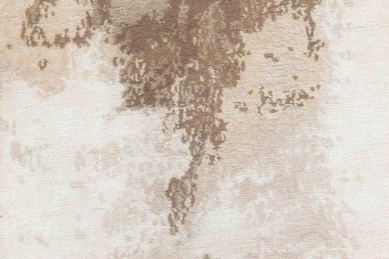 Doris Leslie Blau collection sandstorm hand-spun wool and silk, brown and sandy beige rug Size: 13'0