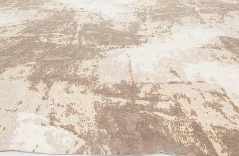 Modern Doris Leslie Blau Collection Sandstorm Hand-Spun Wool & Silk, Brown & Beige Rug For Sale
