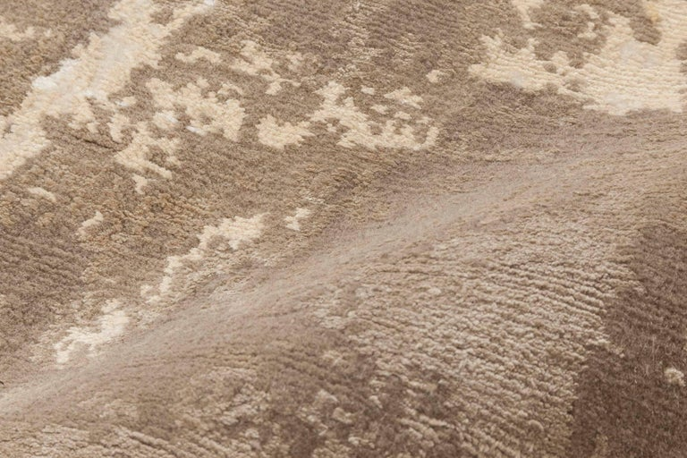 Tibetan Doris Leslie Blau Collection Sandstorm Hand-Spun Wool & Silk, Brown & Beige Rug For Sale