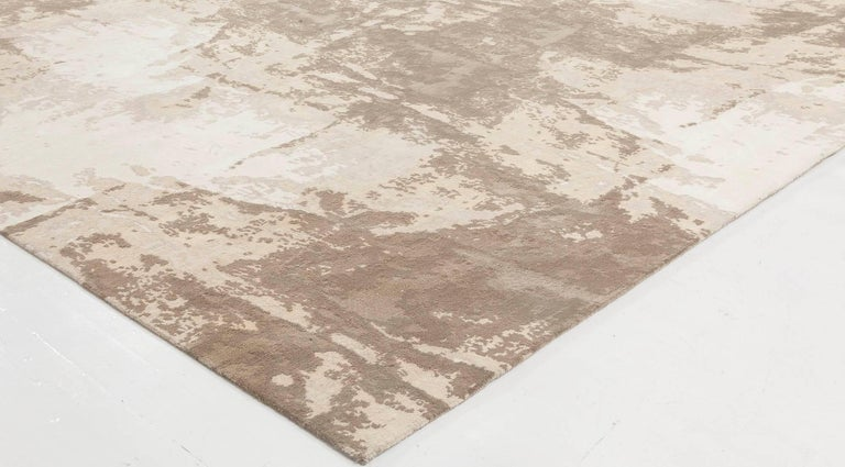 Doris Leslie Blau Collection Sandstorm Hand-Spun Wool & Silk, Brown & Beige Rug In New Condition For Sale In New York, NY