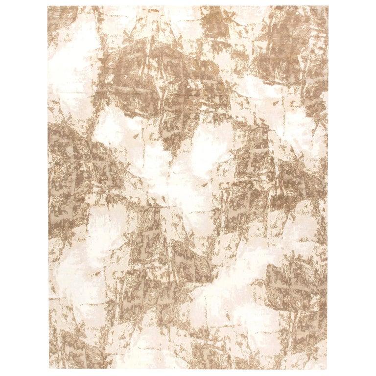 Doris Leslie Blau Collection Sandstorm Hand-Spun Wool & Silk, Brown & Beige Rug For Sale