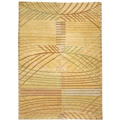 Doris Leslie Blau Collection Scandinavian Inspired Tibetan Rug in Yellow & Green