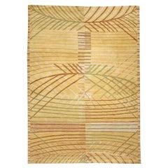 Doris Leslie Blau Collection Scandinavian Inspired Tibetan Rug in Yellow & Green