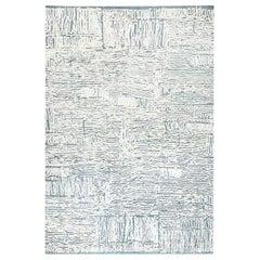 Doris Leslie Blau Collection Seafoam White, Gray & Blue High-Low Silk & Wool Rug