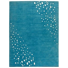 Doris Leslie Blau Collection Seagull Tibetan Silk Rug in Blue and White