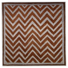 Doris Leslie Blau Collection SN1 Zig-Zag Rug in Gray and Brown