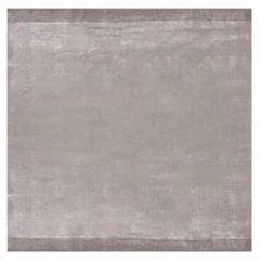 Doris Leslie Blau Collection Solid Steel Gray and Taupe Handmade Silk Rug
