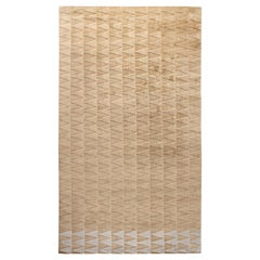 Doris Leslie Blau Collection Steppe Geometric Wool Rug in Ivory and Beige