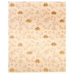Doris Leslie Blau Collection Surface Subtly Floral Beige and Brown Silk Rug
