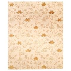 Doris Leslie Blau Collection Surface Subtly Floral Beige and Brown Silk Rug