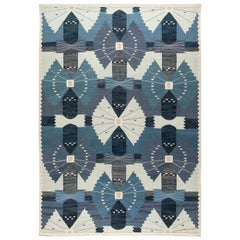 Doris Leslie Blau Collection Swedish Design Blue and White Flat-Woven Wool Rug
