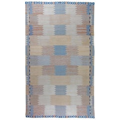 Doris Leslie Blau Collection Swedish Design Blue, Beige and Cream Flat-Weave Rug